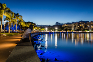 Cairns esplanade by night, Australia