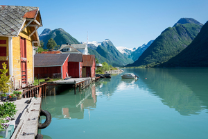 Mundal village, Fjaerlandsfjord, Norway