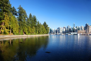 View of city and Stanley Park, Vancouver