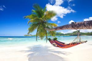 Beach on Mahé, Seychelles with hammock
