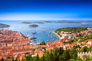 Aerial view of Hvar harbour, Croatia