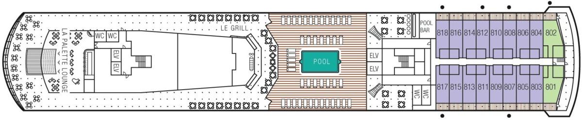 MS Paul Gauguin deck plans - Deck 8