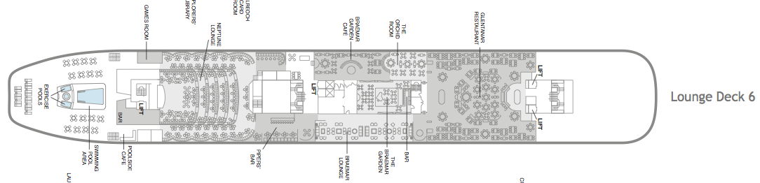 Fred. Olsen - Black Watch deck plans: Lounge Deck 6