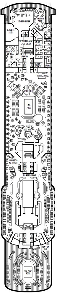 Holland America Line - MS Rotterdam deck plans - Deck 8 (Lido Deck)