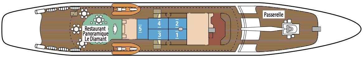 Le Ponant deck plans - Antigua Deck