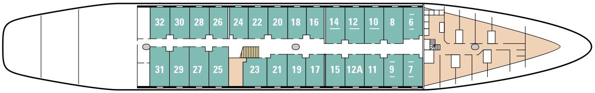 Le Ponant deck plans - Marie-Galante Deck