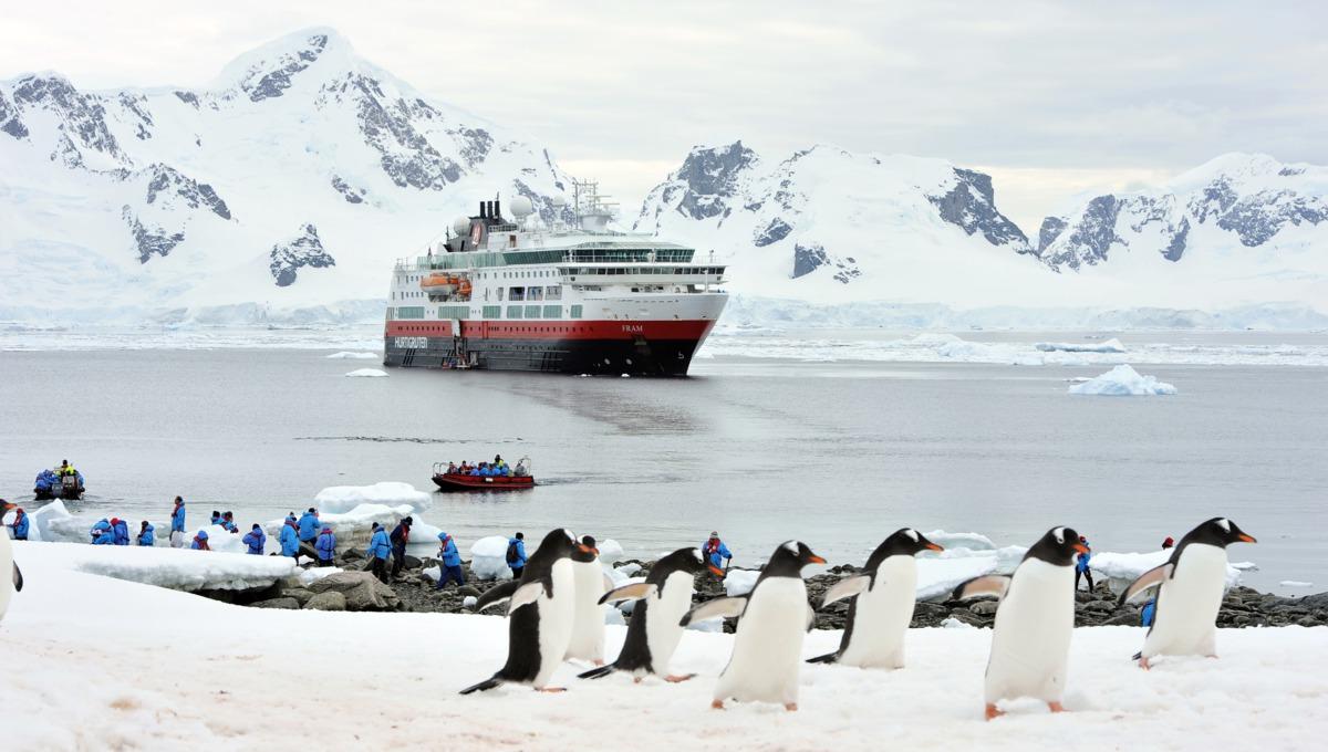 MS Fram in Antarctica with penguins