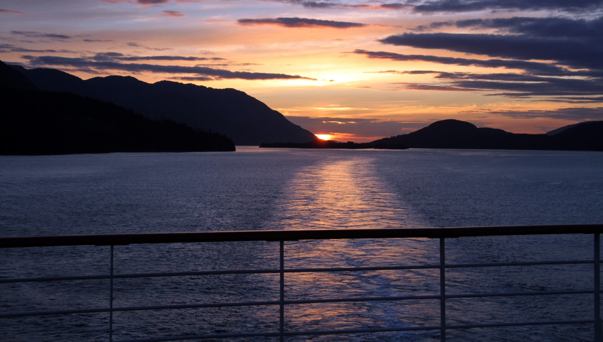 Holland America Line cruises - Sunset view from MS Zuiderdam