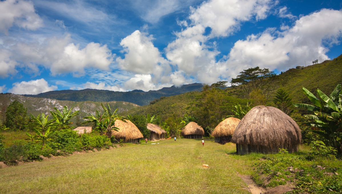 Traditional huts in Wamena, Papua New Guinea