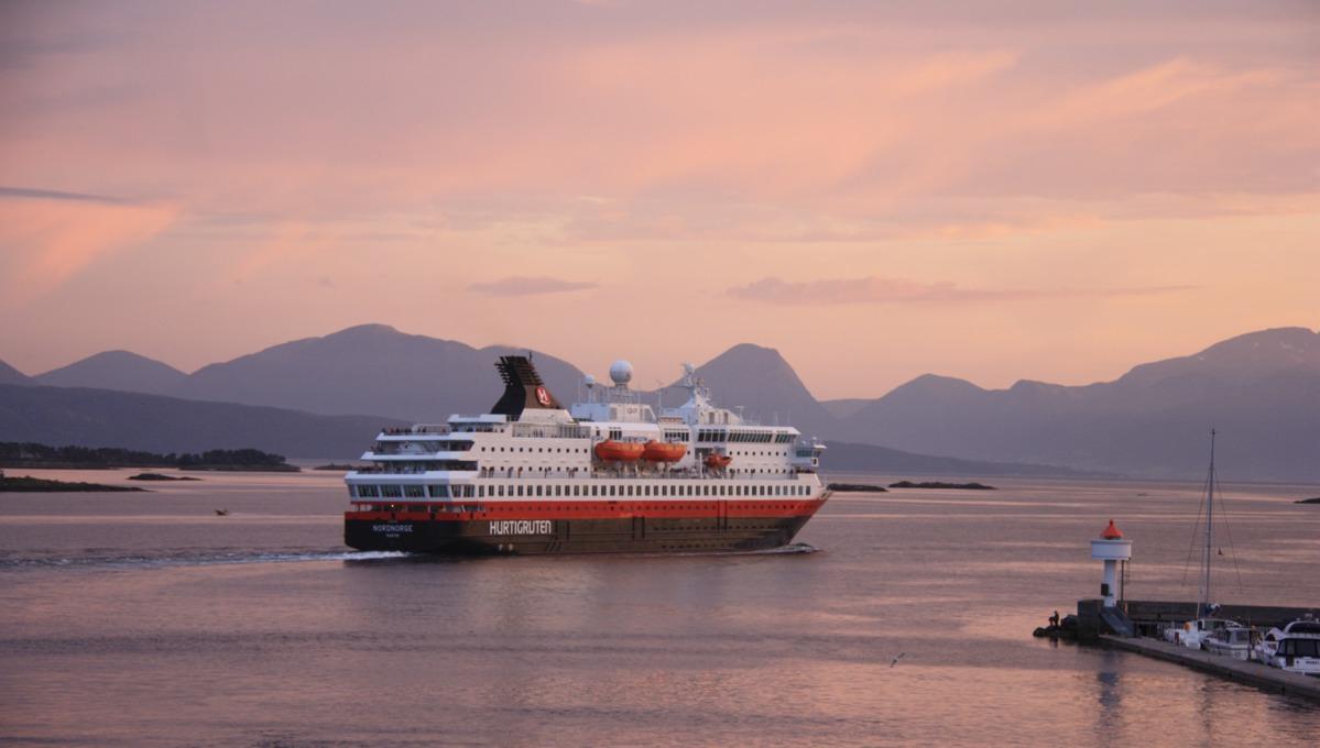 Hurtigruten - MS Nordnorge at sunset
