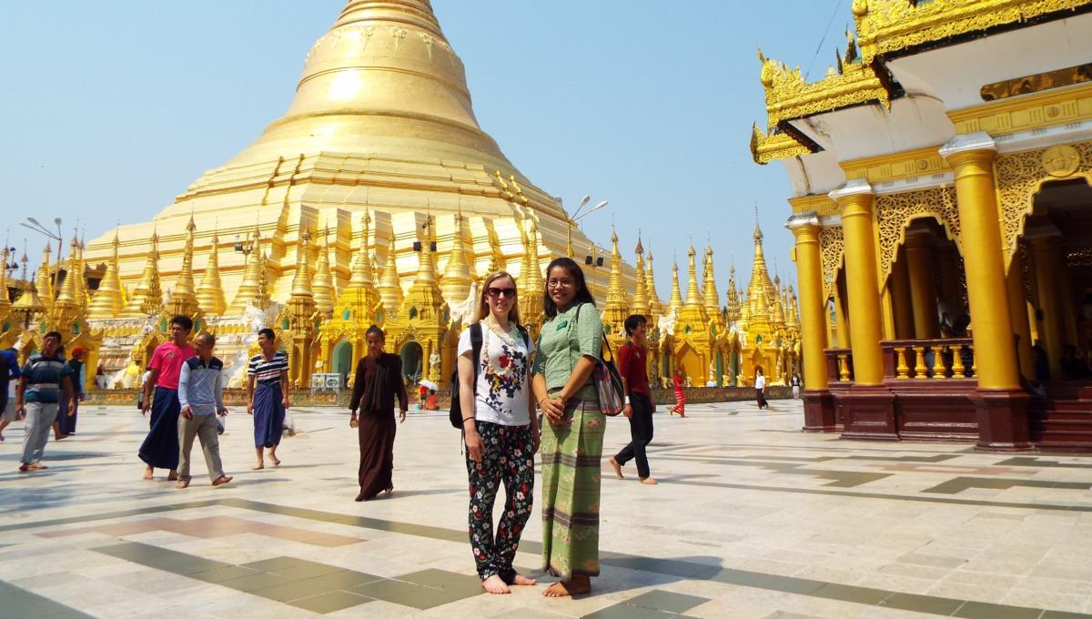Theresa at the Shwedagon Pagoda in Yangon, Myanmar