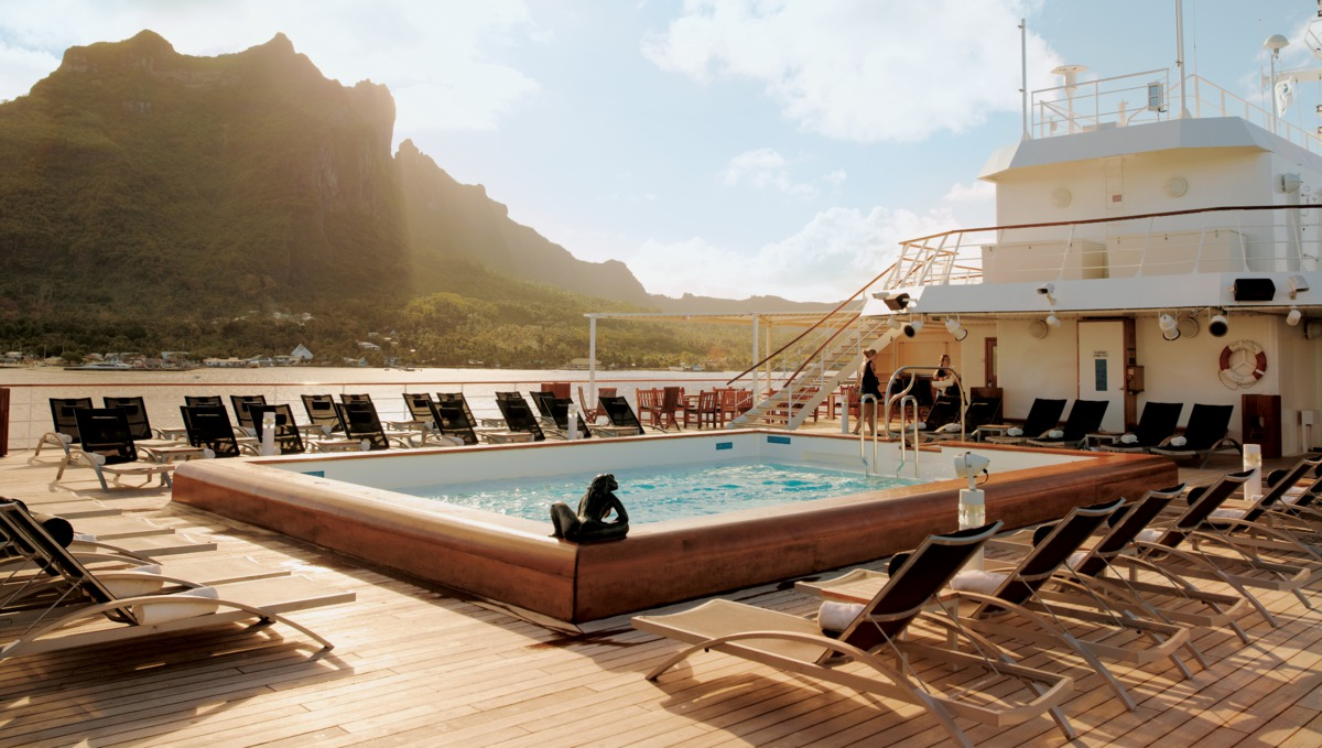 MS Paul Gauguin - View from the pool deck in Bora Bora