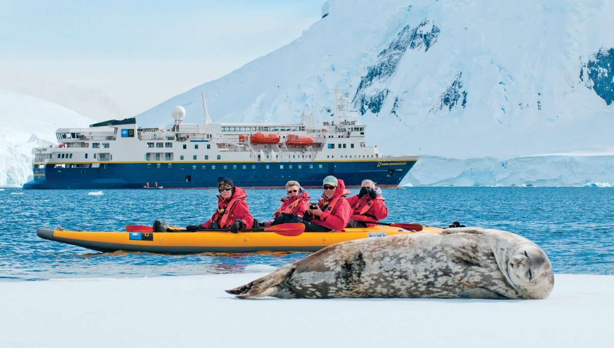 Lindblad Expeditions cruise ship National Geographic Explorer in Antarctica