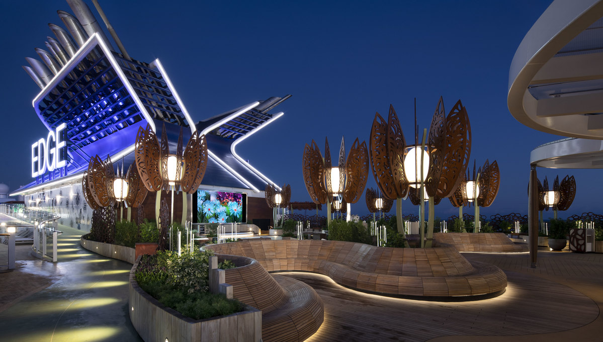 Celebrity Edge - Rooftop garden at night