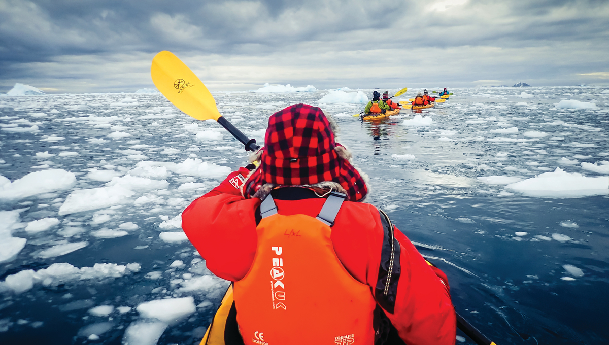 Sea kayaking, one of the exciting activities available on an Antarctica cruise