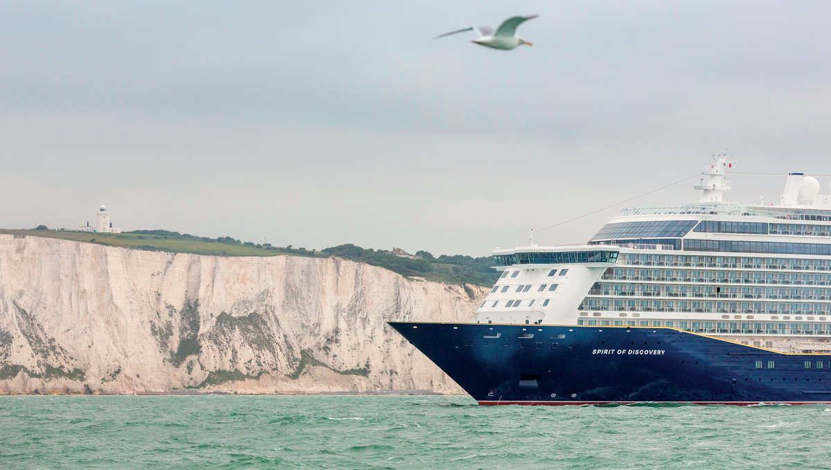 Saga's Spirit of Discovery leaving Dover on a no-fly cruise from the UK