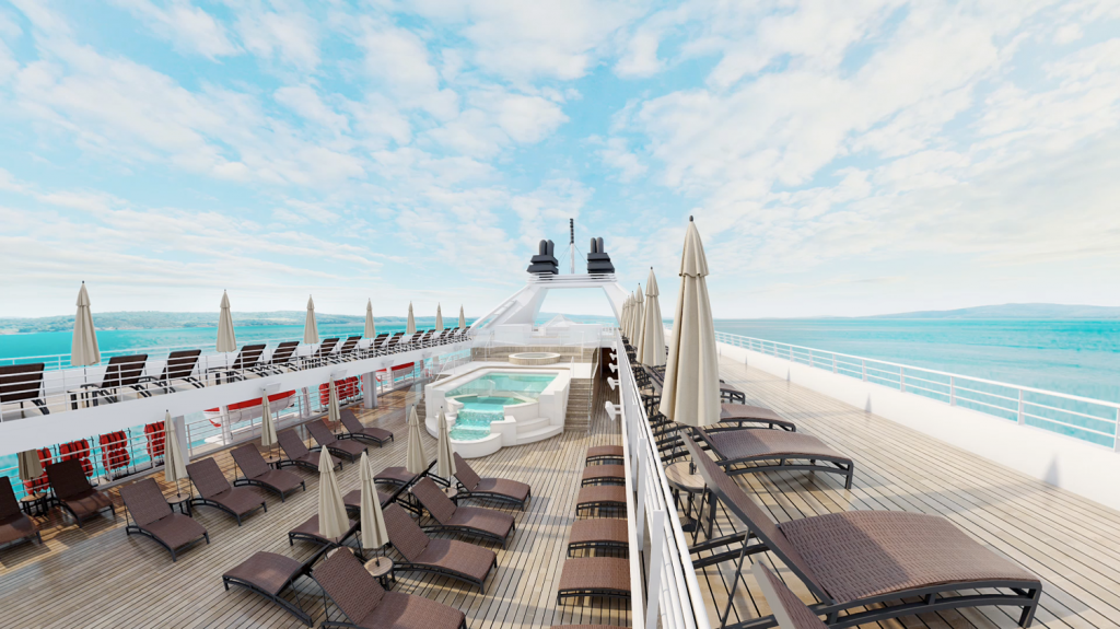 Rendering of the infinity pool deck after Windstar's 2020 refurbishment programme