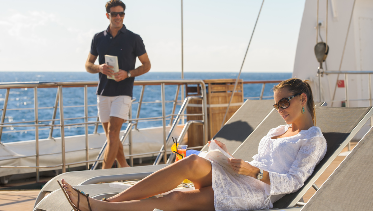 Guests on deck on Le Ponant