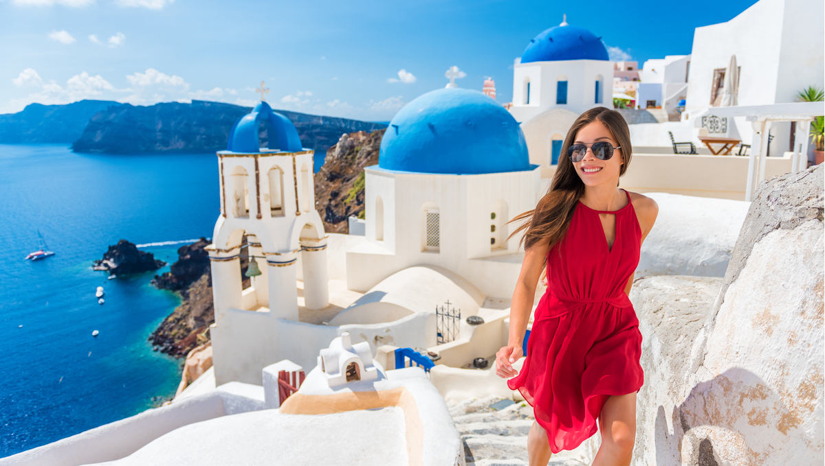 Single traveller in Oia, Santorini