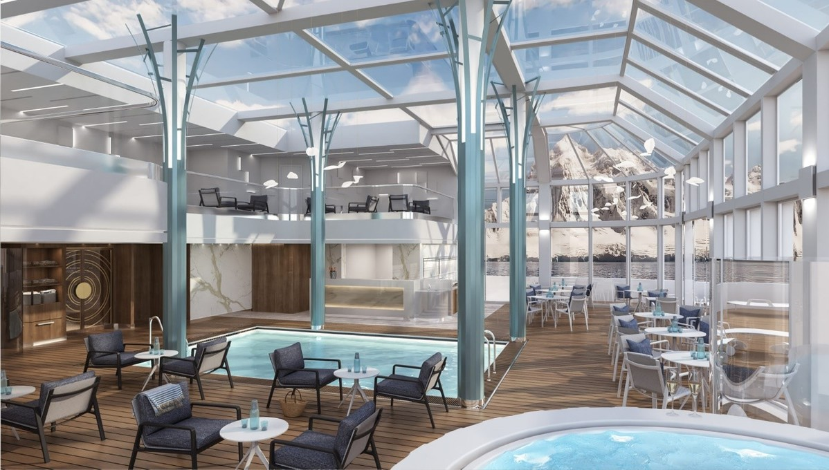 The solarium on Crystal Endeavor, set to launch in 2020