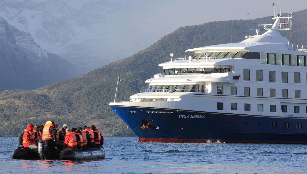 Stella Australis with zodiac boat