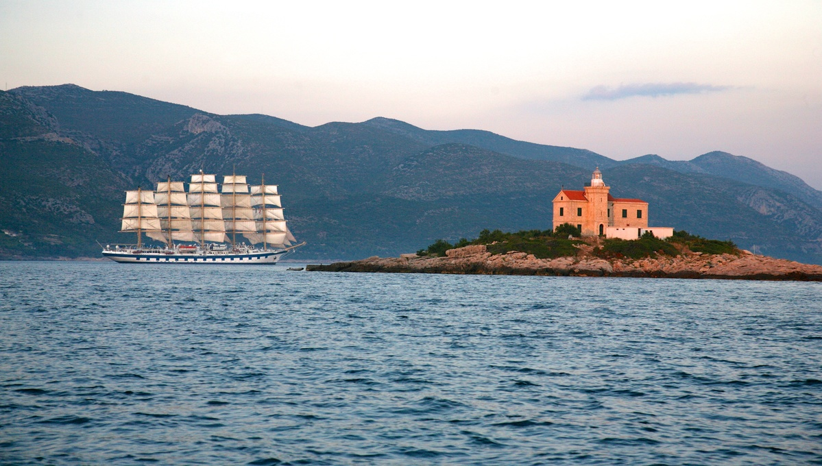 Royal Clipper off Korcula, Croatia