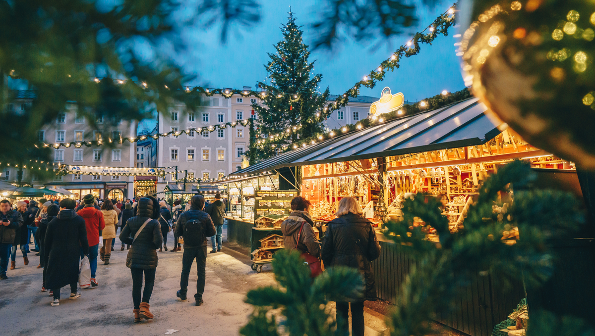 Festive market in Salzburg, one of the best Christmas cruise destinations