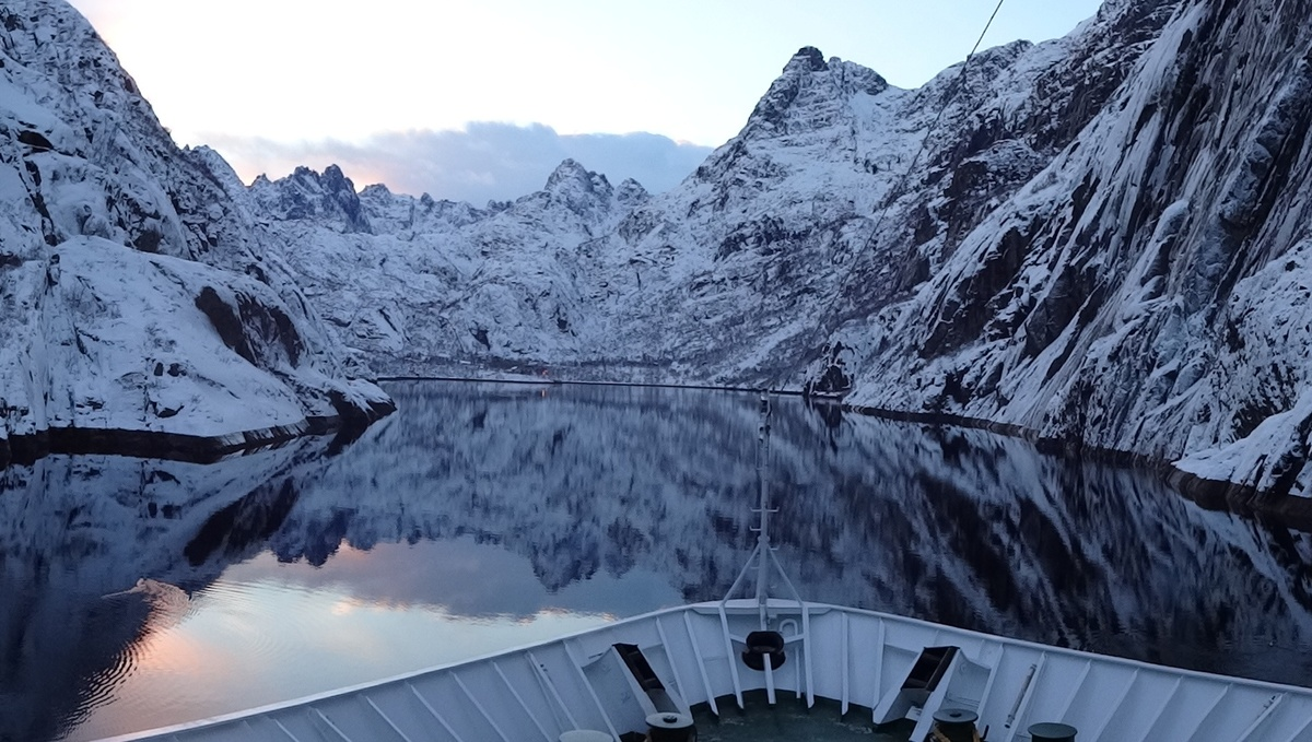 MS Nordkapp in Trollfjord, Norway