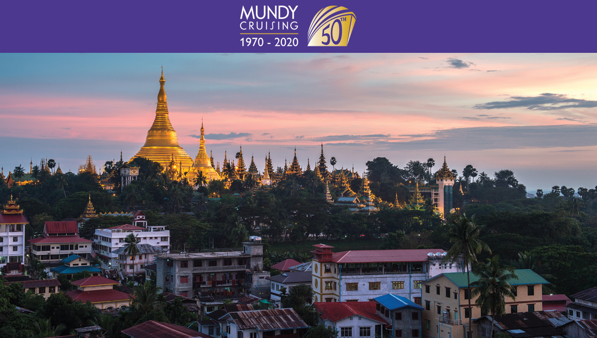 The golden Shwedagon Pagoda in Yangon, one of our top holiday ideas for a 50th birthday or anniversary