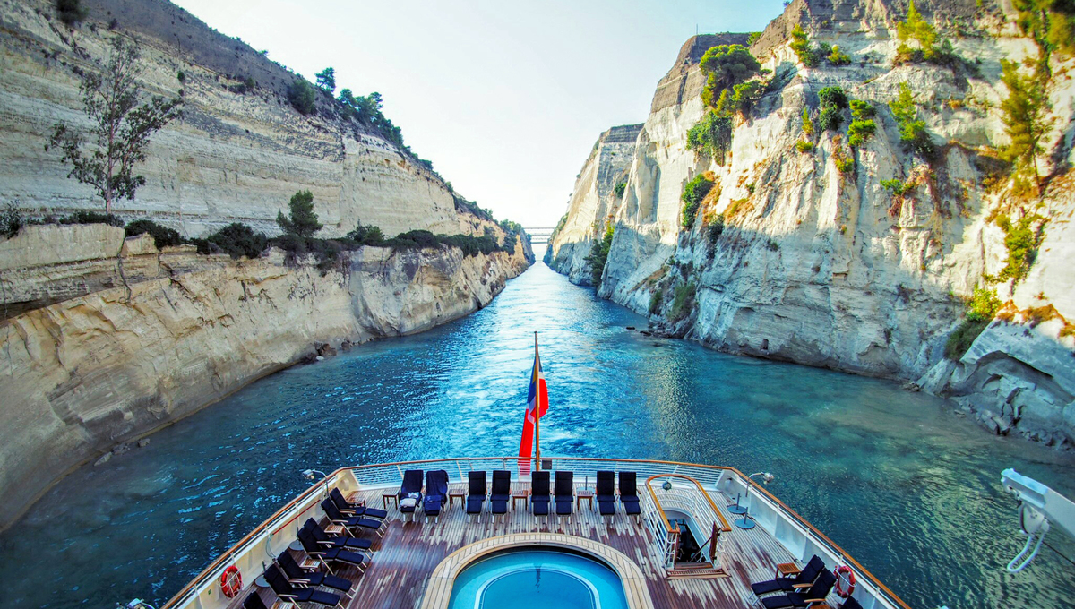 A SeaDream cruise on the Corinth Canal, one of the world's great canal journeys