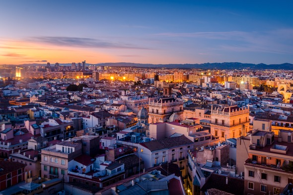 Sunset over Valencia, Spain