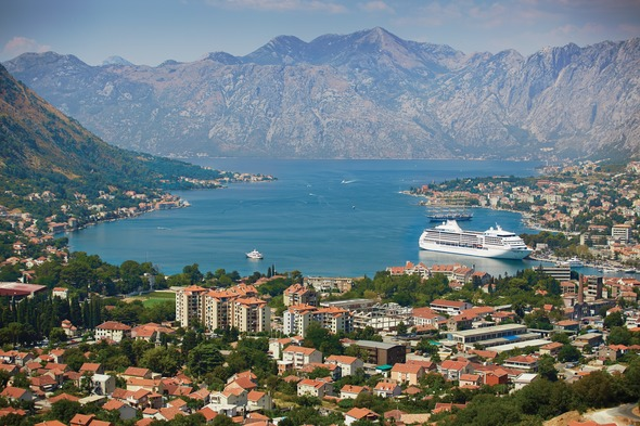 Regent Seven Seas Mariner in the Bay of Kotor, Montenegro