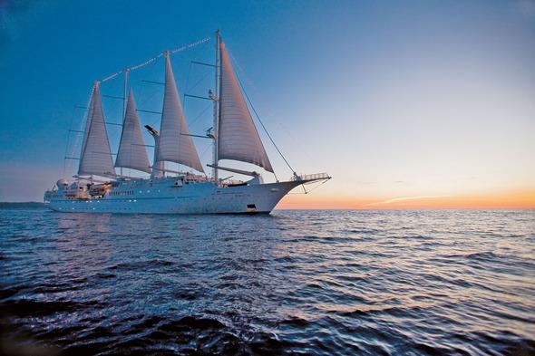 Windstar Cruises - Wind Star at sunset