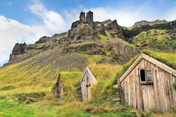 Turf houses in Sandar, Iceland