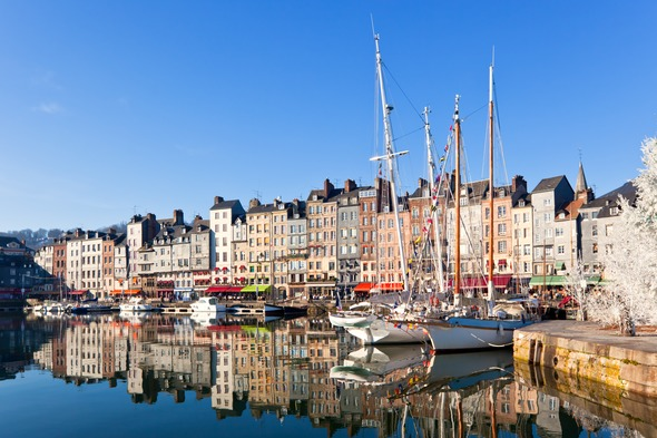 Boats in Honfleur harbour, France