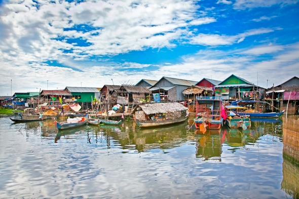 Floating village on Tonle Sap Lake, Cambodia