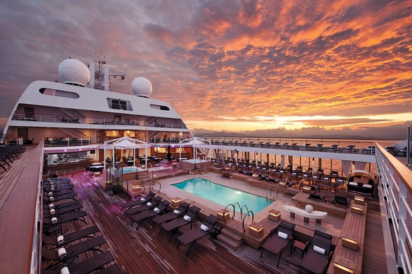 Seabourn - Sunset on the pool deck