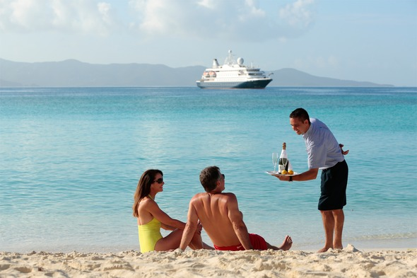 SeaDream Yacht Club beach service in the Caribbean