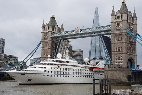Star Breeze passing under London's Tower Bridge