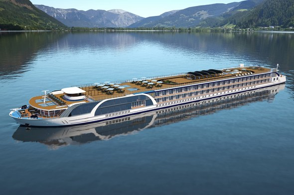 Artist's rendering of AmaMagna on the Danube