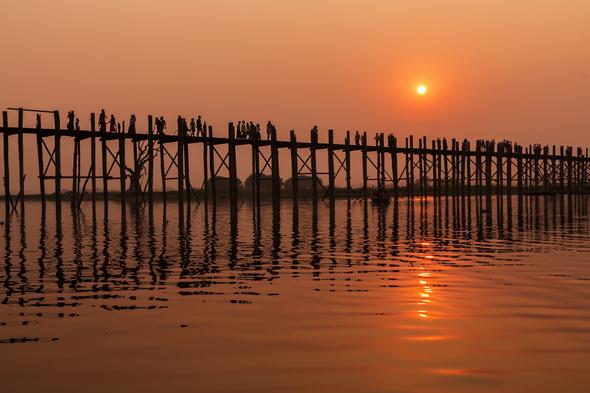 U Bein bridge over the Ayeyarwady river, Myanmar