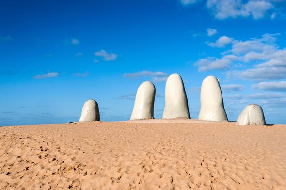 La Mano sculpture, Punta del Este, Uruguay