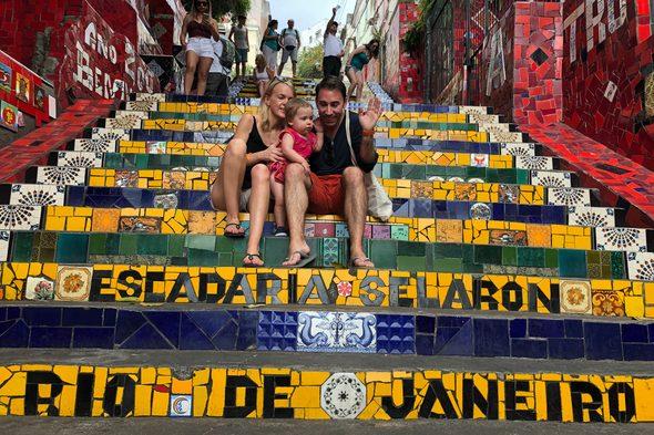 Alex and Lynsey on the Escadaria Selaron, Rio de Janeiro