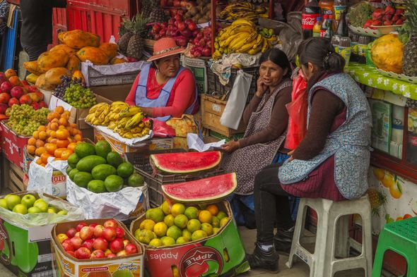 Fruit market in La Paz, Bolivia