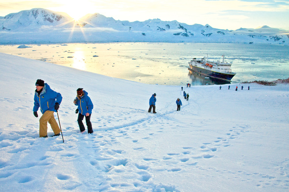 Lindblad Expeditions guests in parkas in Antarctica