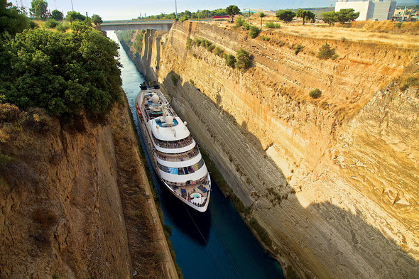 Star Breeze travelling through the Corinth Canal, Greece