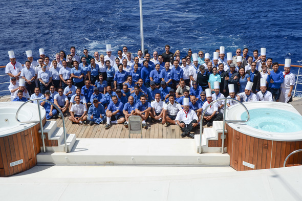 Crew on board Windstar's Wind Surf