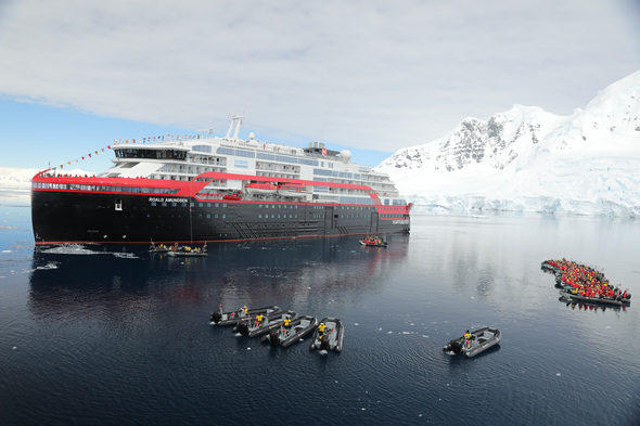 Hurtigruten - MS Roald Amundsen naming ceremony in Antarctica