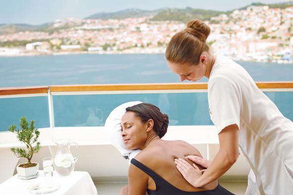 Enjoying a massage on a Seabourn cruise