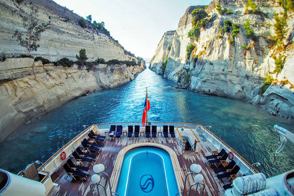 SeaDream Yacht Club in the Corinth Canal